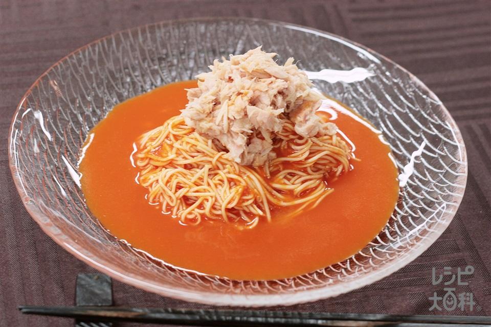 冷製カッペリーニ風トマトそうめん(そうめん+トマトジュース(無塩)を使ったレシピ)