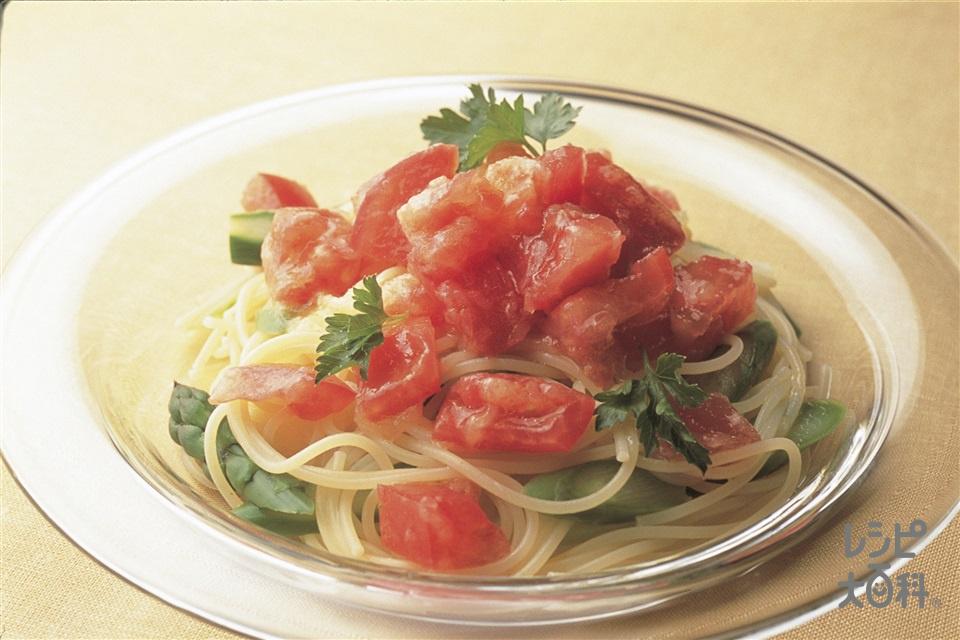トマトの冷製パスタ(トマト+グリーンアスパラガスを使ったレシピ)
