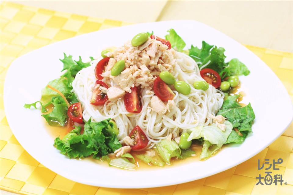野菜のサラダ素麺(そうめん+レタスを使ったレシピ)