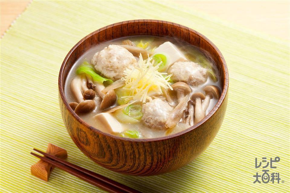 鶏団子汁(キャベツ+木綿豆腐を使ったレシピ)