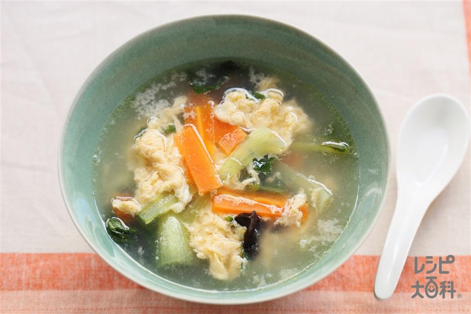 基本の中華スープ(チンゲン菜+溶き卵を使ったレシピ)
