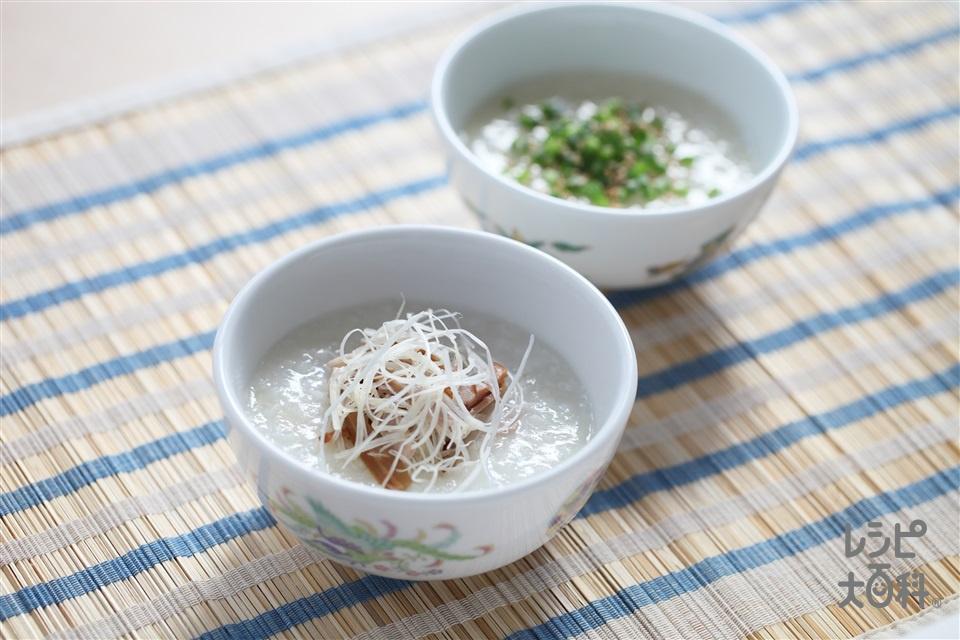 焼き豚のせ中華がゆ(焼き豚+味つきメンマを使ったレシピ)