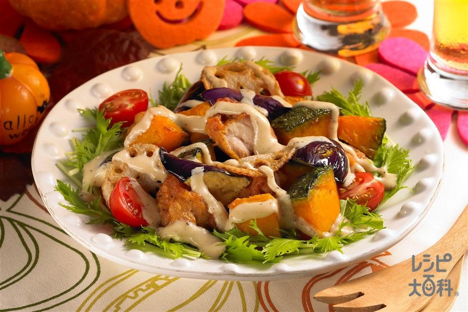 ハロウィンチキンプレートシーザー仕立て(かぼちゃ+なすを使ったレシピ)