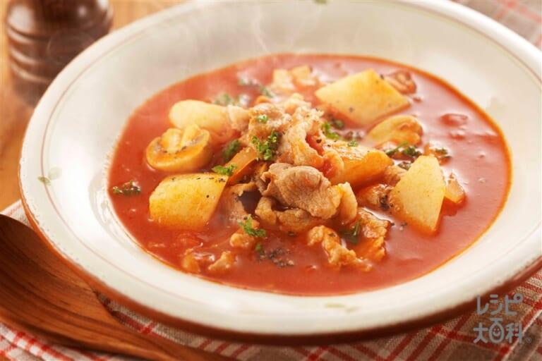 豚肉と長いものトマトシチュー