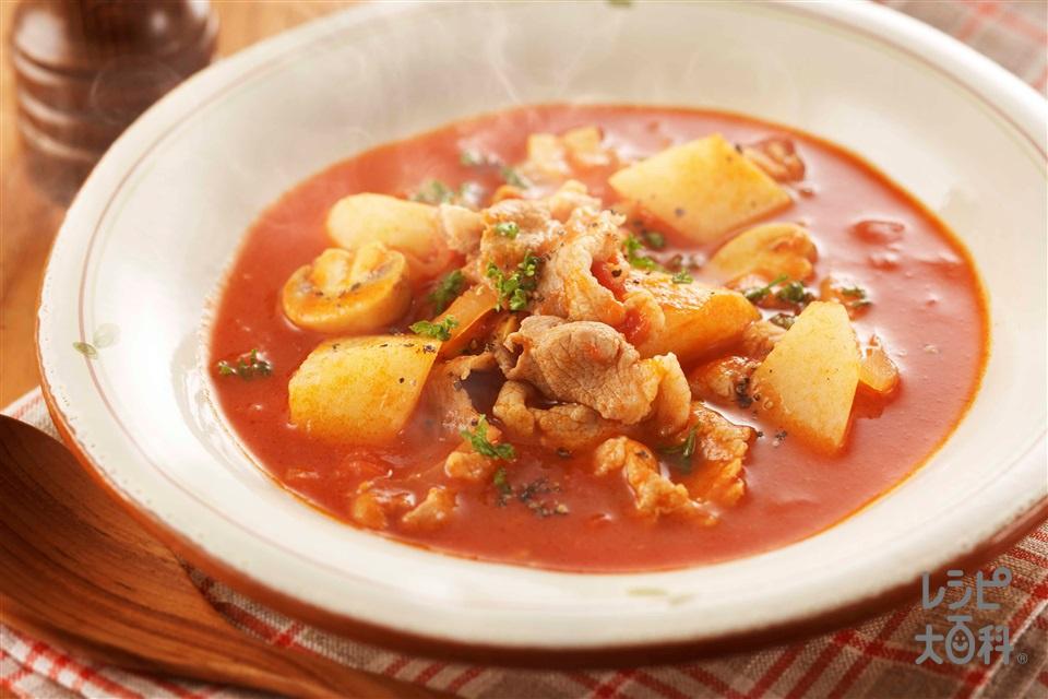 豚肉と長いものトマトシチュー(豚こま切れ肉+ホールトマト缶を使ったレシピ)
