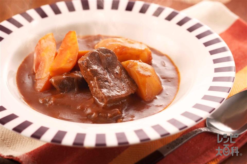 ビーフトマトシチュー(牛ももかたまり肉+玉ねぎを使ったレシピ)