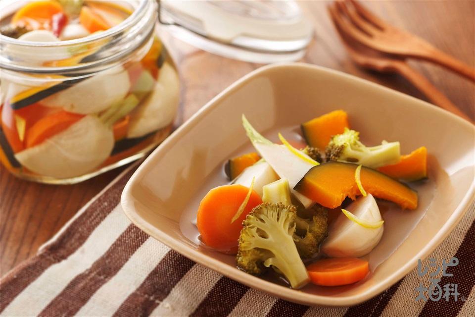 冬野菜のゆずピクルス(ブロッコリー+かぼちゃを使ったレシピ)