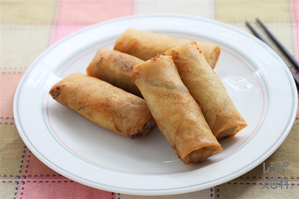 香味五目春巻(春巻の皮+豚もも薄切り肉を使ったレシピ)