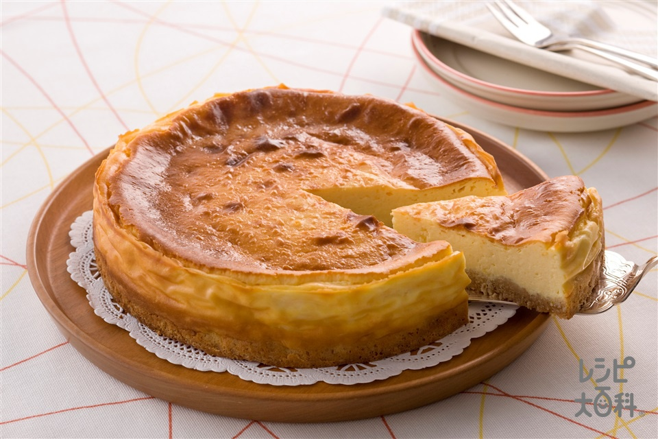 ヘルシーベイクドチーズケーキ(クリームチーズ+プレーンヨーグルトを使ったレシピ)