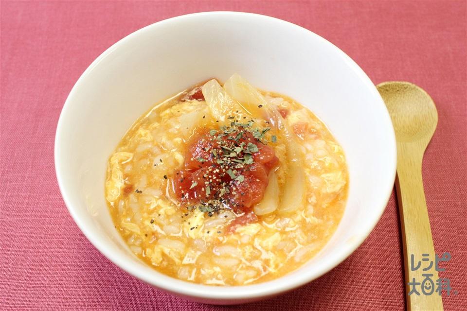 トマト鍋シメ雑炊(ご飯+溶き卵を使ったレシピ)