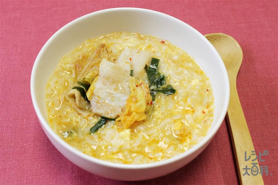 重ねキムチ鍋シメ雑炊(ご飯+溶き卵を使ったレシピ)