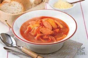 朝からあったか!ソーセージと白菜のトマトコンソメスープ
