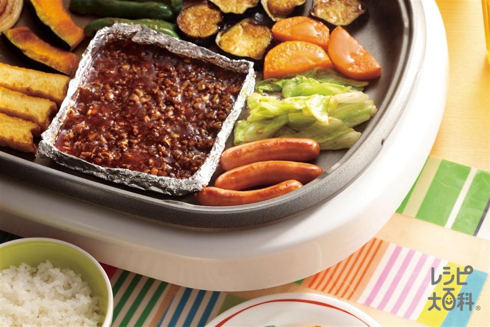 麻婆プレート(豚ひき肉+ねぎのみじん切りを使ったレシピ)