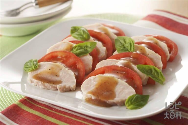 塩鶏のカプレーゼ風サラダ