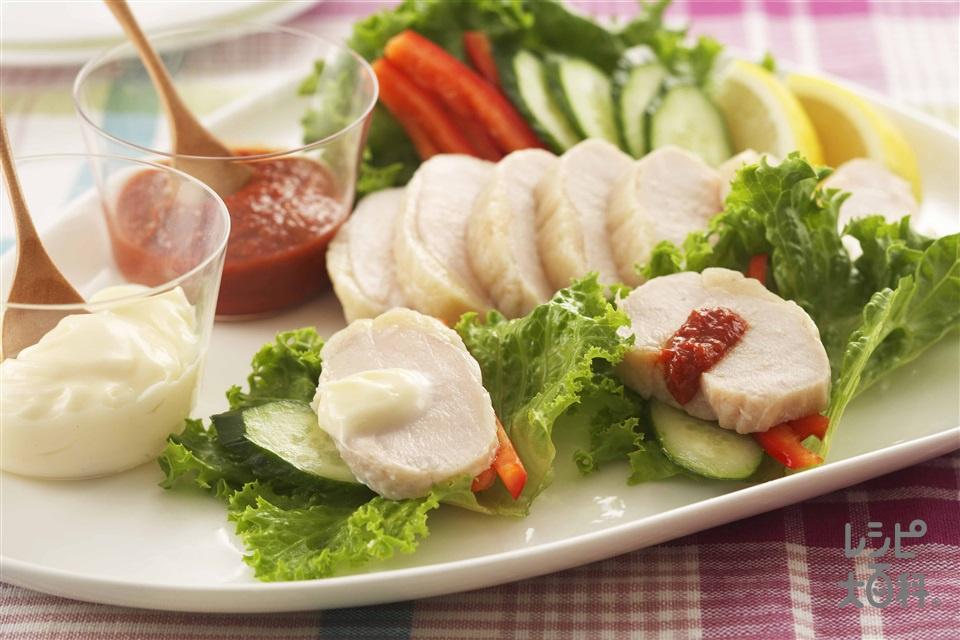 塩鶏のレタス巻き(塩鶏+リーフレタスを使ったレシピ)