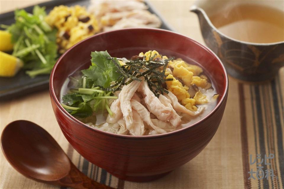 鶏飯風スープかけご飯(ご飯+塩鶏を使ったレシピ)