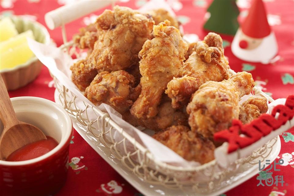 サクサク衣のガーリックチキン(鶏手羽元+小麦粉を使ったレシピ)