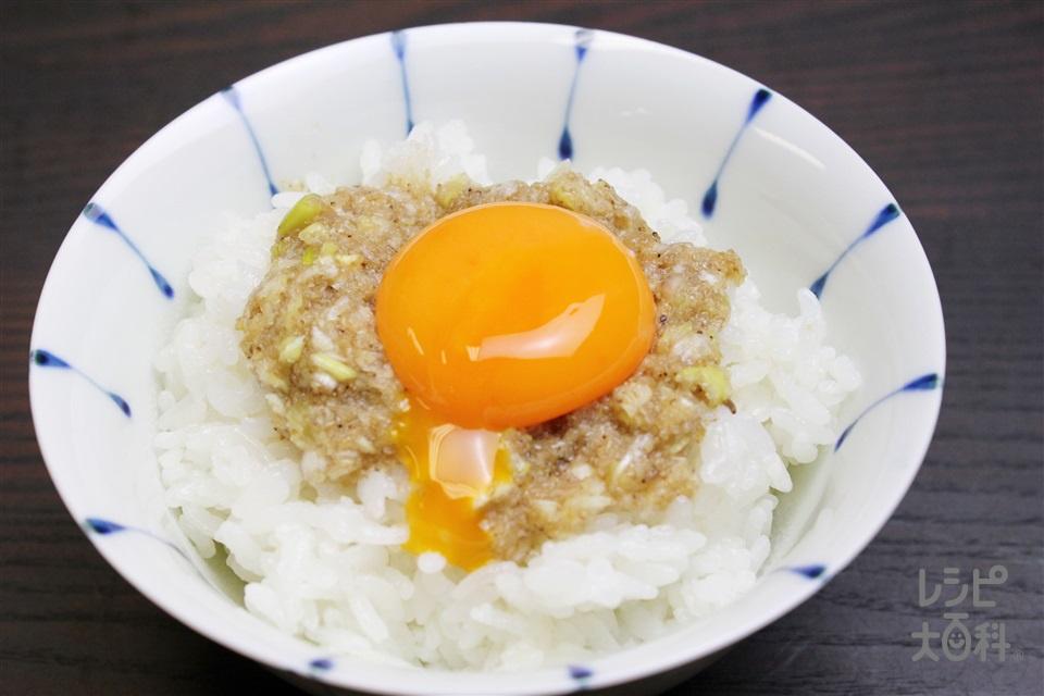 月見ねぎ塩丼(温かいご飯+卵黄を使ったレシピ)
