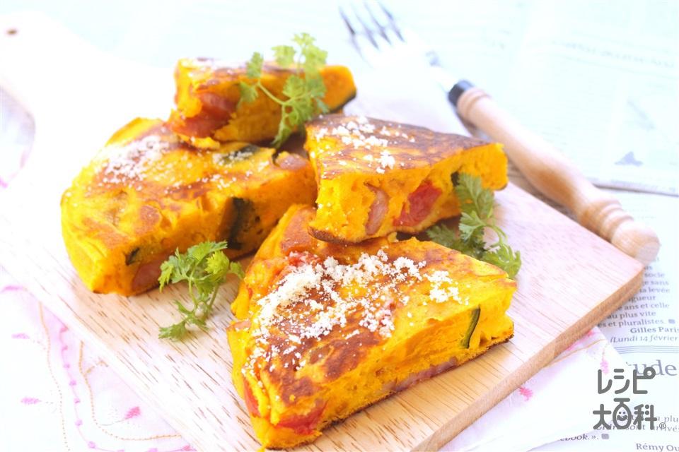 フライパンでかぼちゃのケークサレ(かぼちゃ+ウインナーソーセージを使ったレシピ)