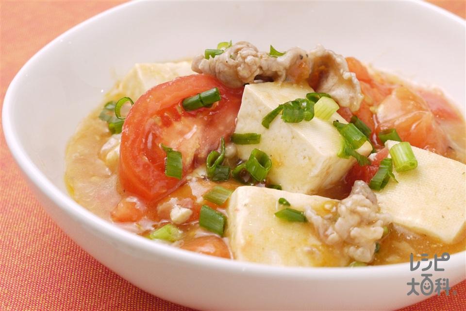 豆腐とトマトの鶏がらスープ煮(木綿豆腐+トマトを使ったレシピ)