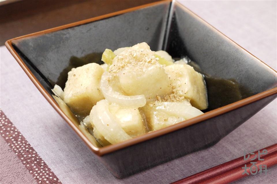 高野豆腐と玉ねぎのたっぷりごま炒め(高野豆腐+片栗粉を使ったレシピ)
