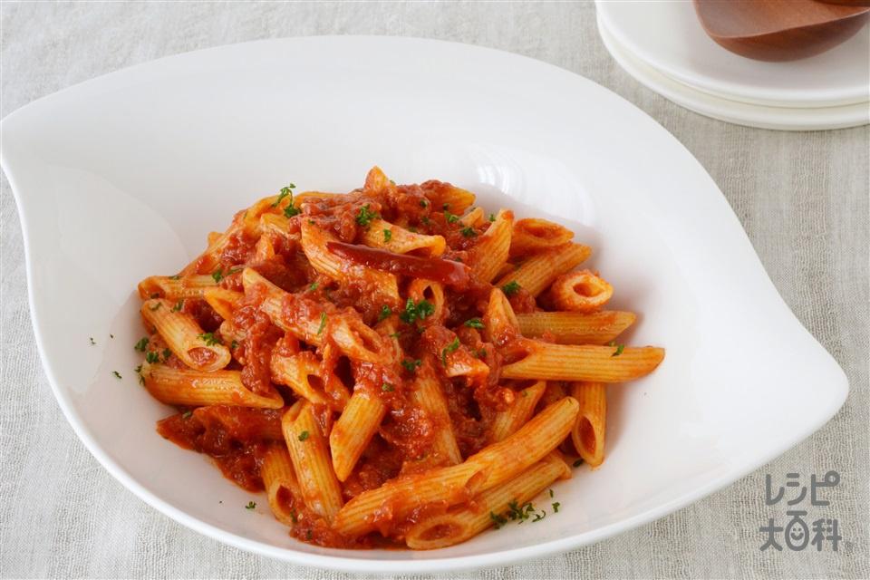 塩麹アラビアータ(ペンネ+ホールトマト缶を使ったレシピ)