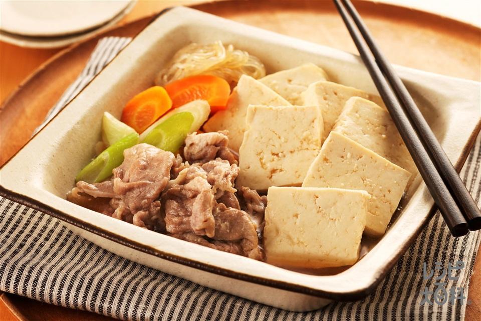 肉豆腐(豚こま切れ肉+木綿豆腐を使ったレシピ)