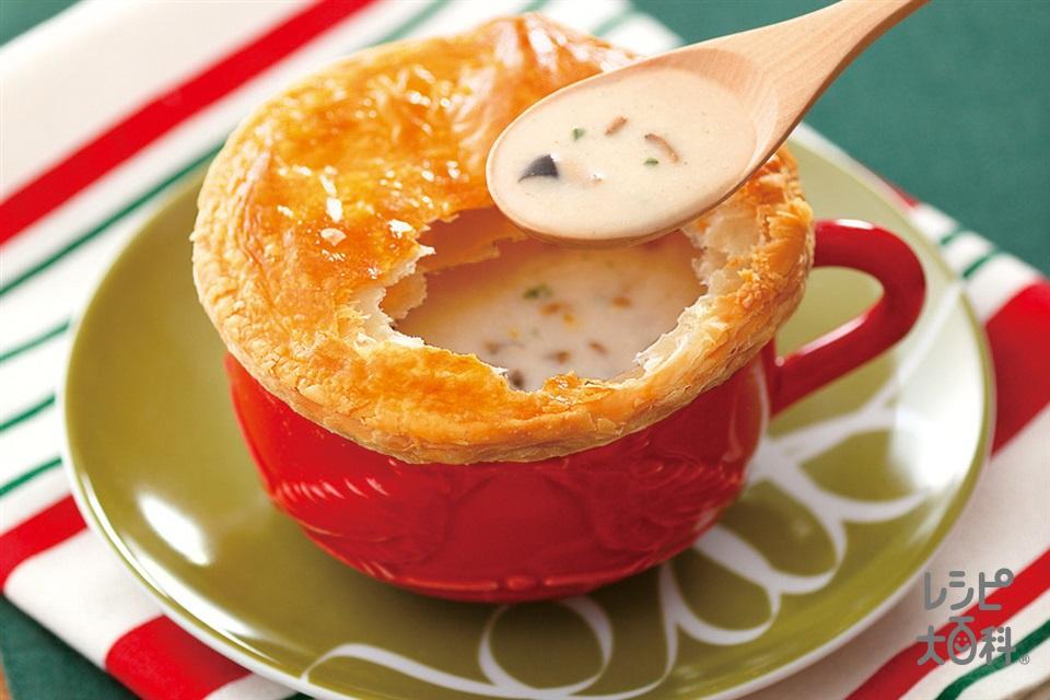 ふたパン(「クノール カップスープ」ミルク仕立てのきのこのポタージュ+熱湯を使ったレシピ)