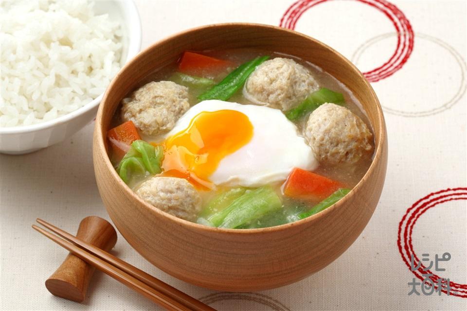 とろ玉鶏だんごの絶品汁(鶏ひき肉+卵を使ったレシピ)