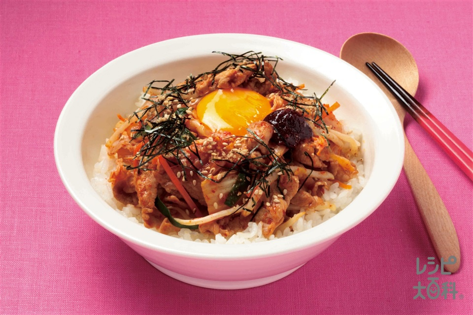 手作りビビンバ(豚ロース薄切り肉+にんじんを使ったレシピ)