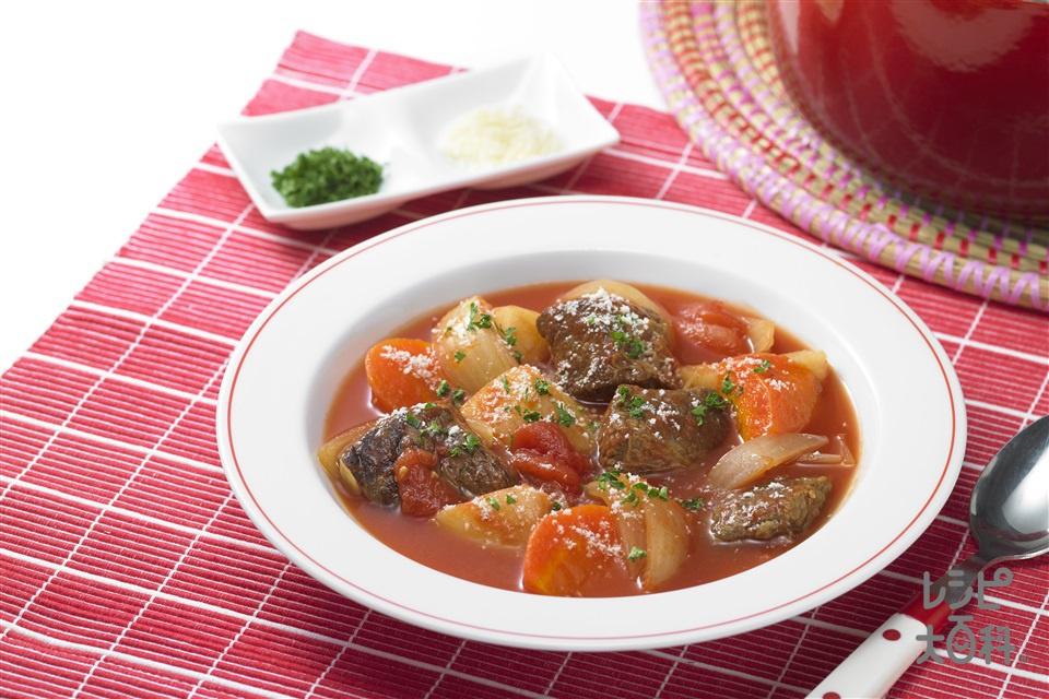 牛肉とトマトのおかずスープ(牛かたかたまり肉+「瀬戸のほんじお」を使ったレシピ)