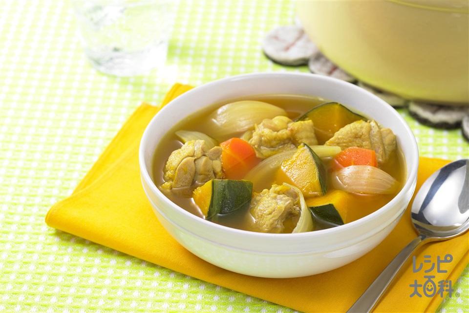 鶏肉とかぼちゃのおかずスープ(鶏もも肉+玉ねぎを使ったレシピ)
