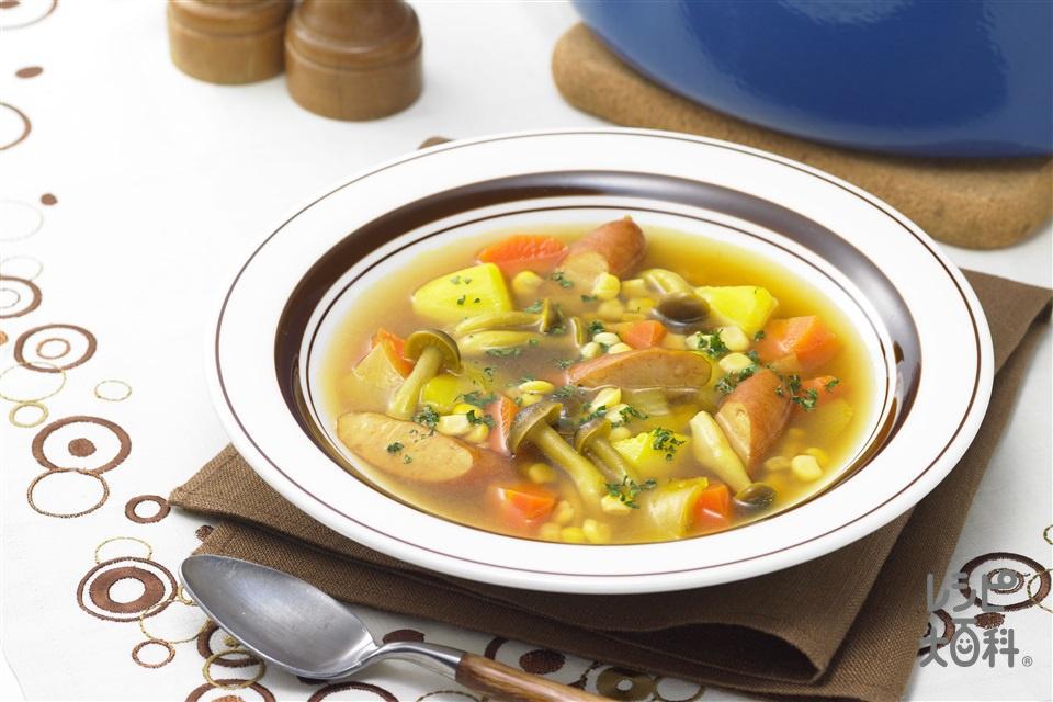 ソーセージのカレースープ(玉ねぎ+にんじんを使ったレシピ)