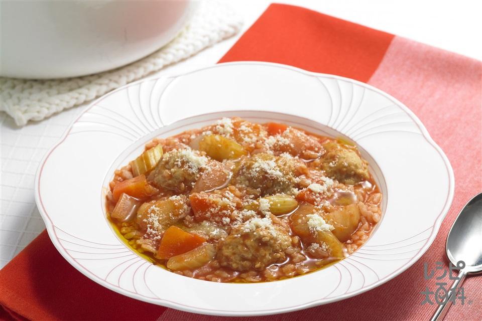 ナイス リメイク!鶏だんごのリゾット(ご飯+鶏だんごのおかずスープを使ったレシピ)