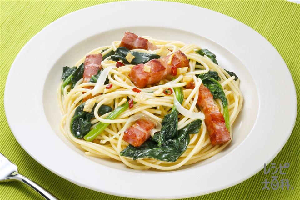 味つけは「こんぶだし」だけ 簡単ペペロンチーノ(スパゲッティ+ほうれん草を使ったレシピ)