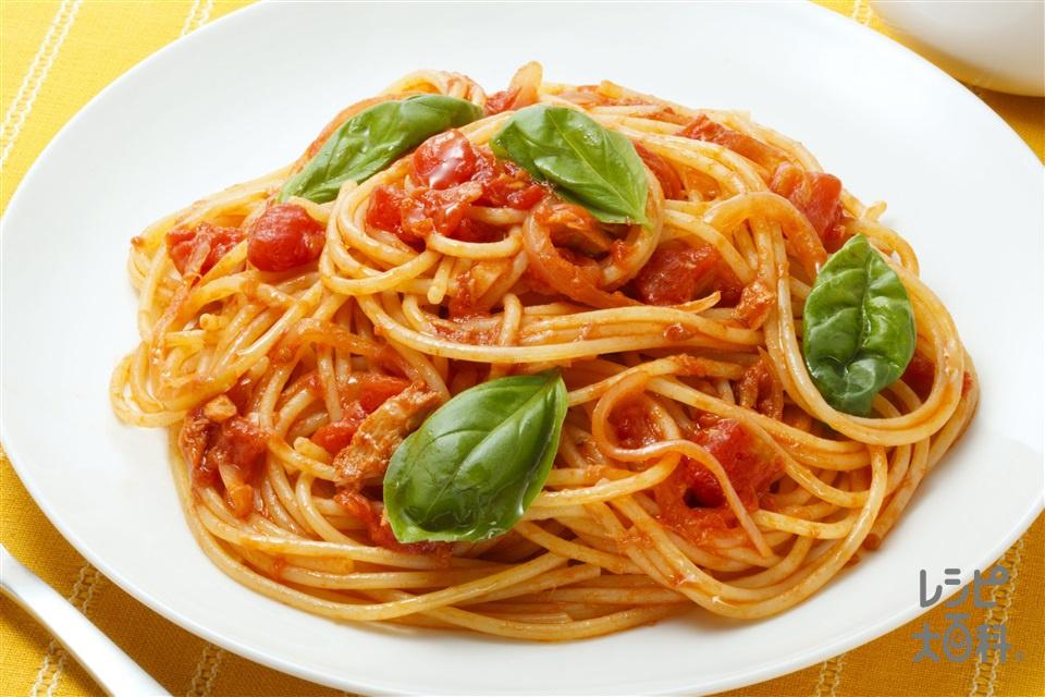 味つけは「こんぶだし」だけ トマトとツナのパスタ(スパゲッティ+カットトマト缶を使ったレシピ)