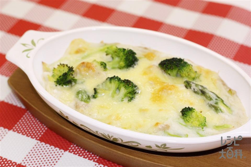 ブロッコリーと白ねぎのグラタン~ねばりっこソース~(長いも+牛乳を使ったレシピ)