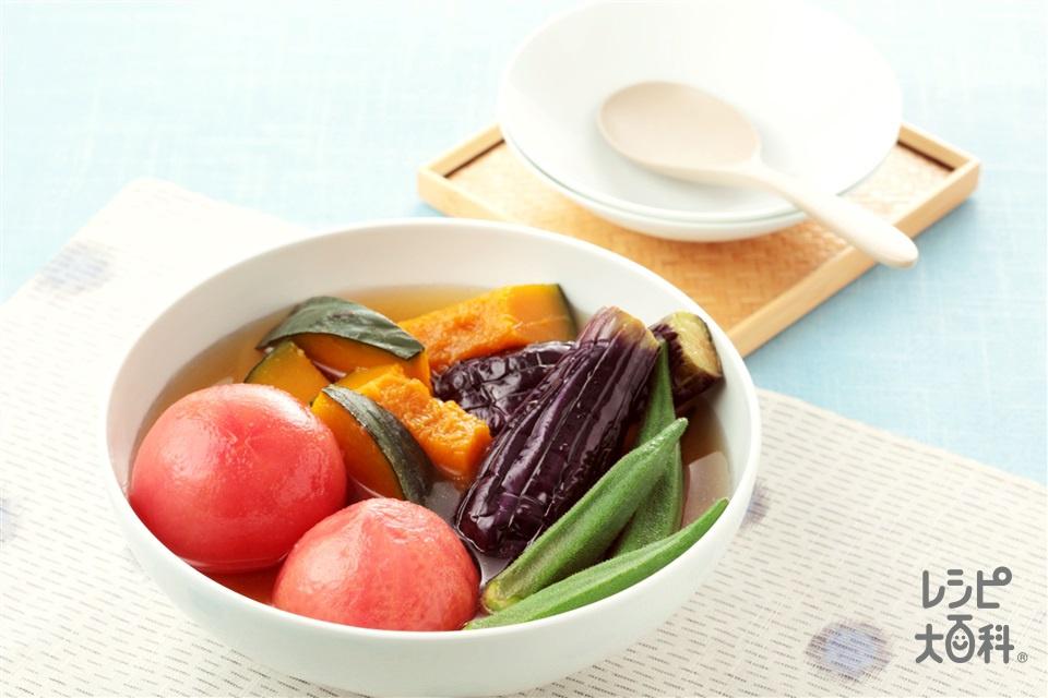夏野菜の冷たい煮もの(トマト+なすを使ったレシピ)