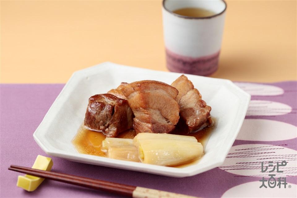 豚の角煮(豚バラかたまり肉+ねぎを使ったレシピ)