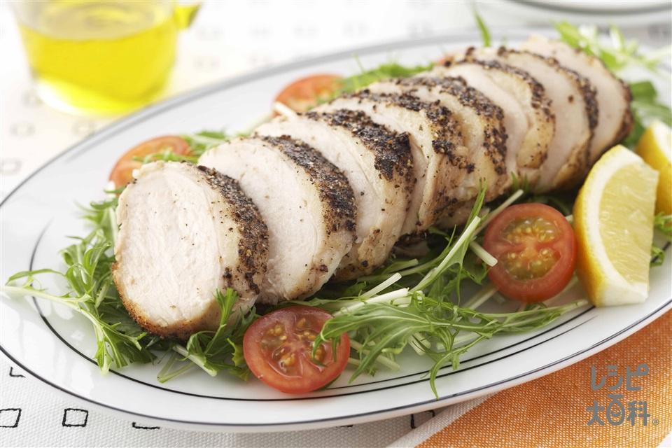 塩鶏のペッパーソテー(水菜+ミニトマトを使ったレシピ)