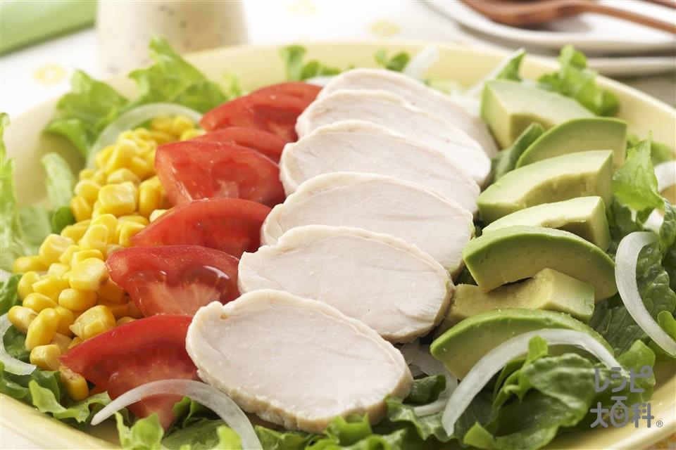 塩鶏コブサラダ(トマト+リーフレタスを使ったレシピ)