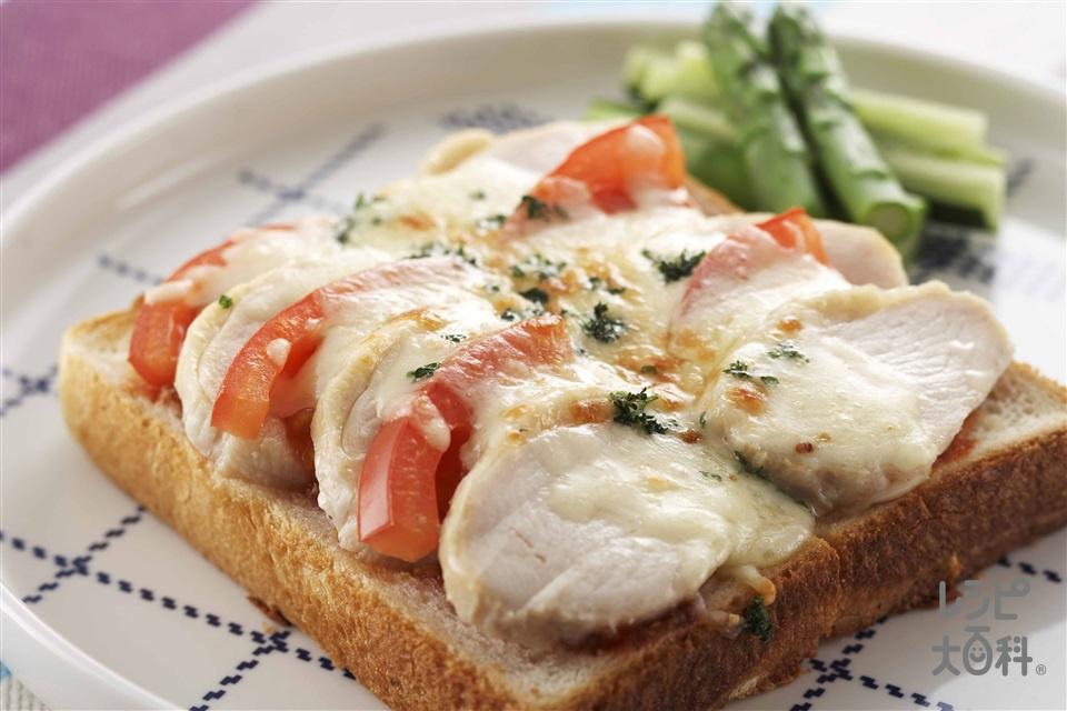 チキントマトトースト(食パン6枚切り+トマトを使ったレシピ)