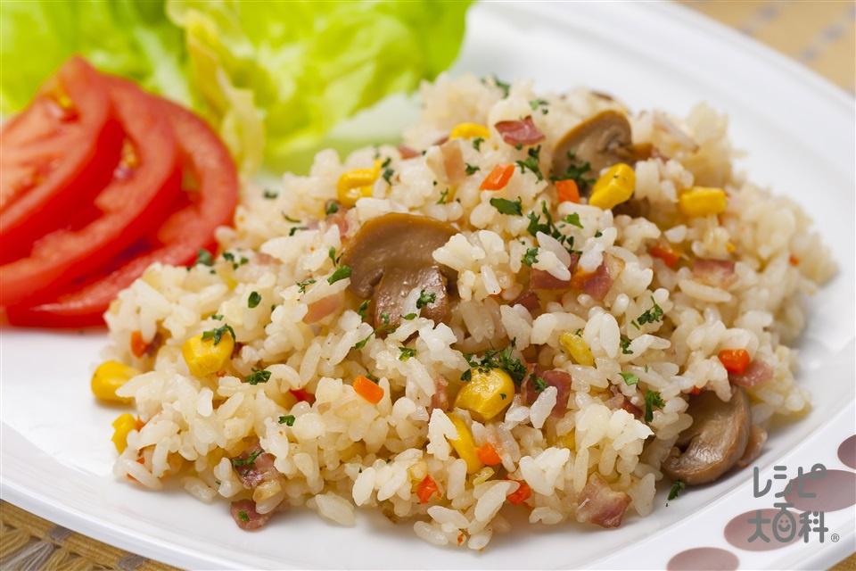 コンソメ炊き込みライス(米+ベーコンスライスを使ったレシピ)