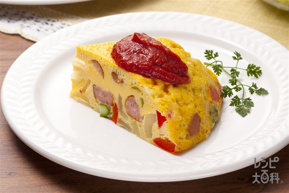 スペイン風オムレツ(卵+ウインナーソーセージを使ったレシピ)
