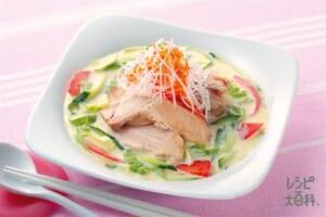 蒸し鶏のスープサラダ