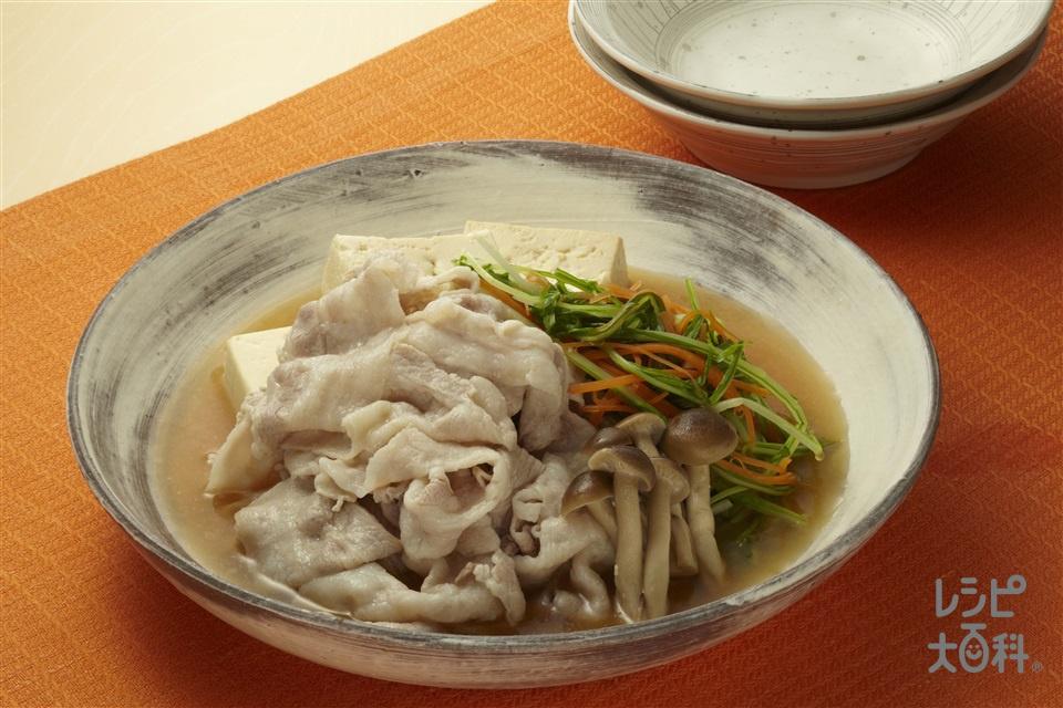 豚しゃぶと水菜のサッと煮(豚しゃぶしゃぶ用肉+木綿豆腐を使ったレシピ)