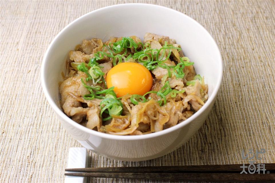 スタミナ丼(豚バラ薄切り肉+ご飯を使ったレシピ)