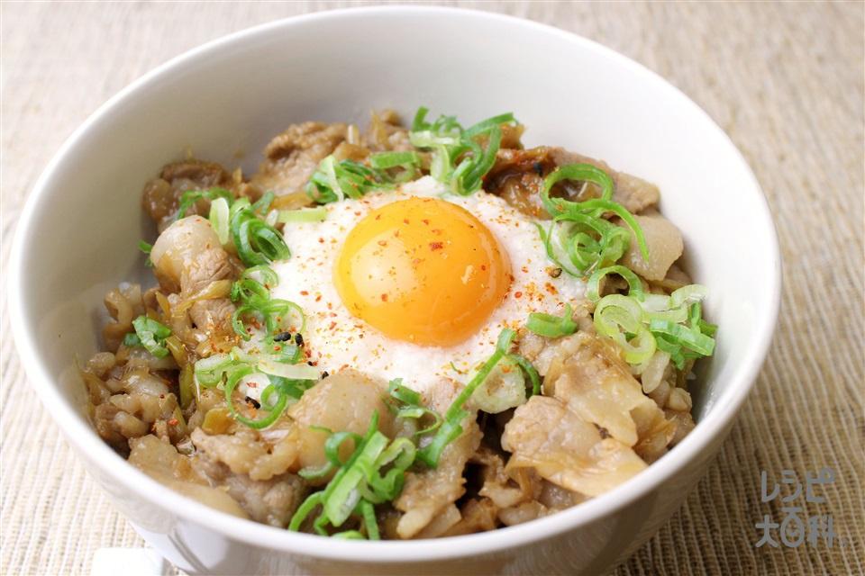 スタミナとろろ丼(豚バラ薄切り肉+ご飯を使ったレシピ)