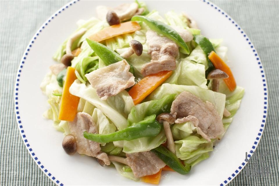 五目野菜炒め(豚バラ薄切り肉+キャベツを使ったレシピ)