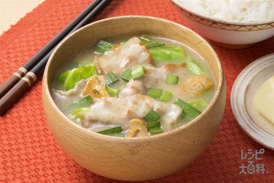 夏のスタミナ絶品豚汁(豚バラ薄切り肉+キャベツを使ったレシピ)